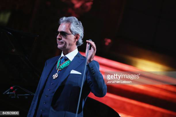 Andrea Bocelli performs during the Dinner and Entertainment at Palazzo Colonna as part of the 2017 Celebrity Fight Night in Italy Benefiting The...