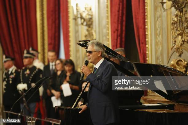 Andrea Bocelli performs during the Tour and Welcome Drinks at Palazzo del Quirinale as part of the 2017 Celebrity Fight Night in Italy Benefiting The...