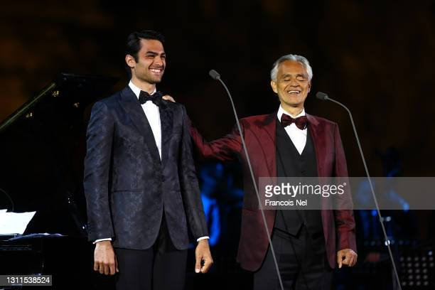 Andrea Bocelli performs in concert with his son Matteo Bocelli on April 08, 2021 at World Heritage Site Hegra in AlUla near Tabuk, Saudi Arabia.