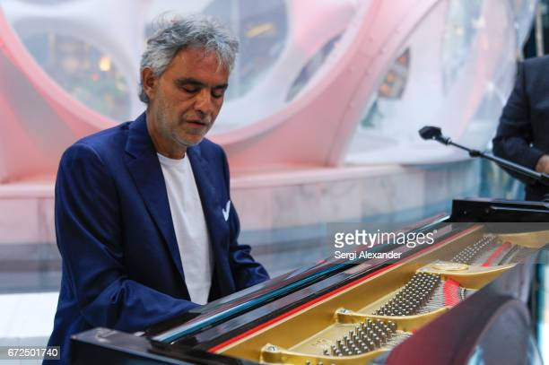 Andrea Bocelli performs in front of the crowd at Vhernier launch with Andrea Bocelli on April 24 2017 in Miami Florida