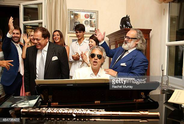 Andrea Bocelli performs in his home during the white party dinner hosted by Andrea and Veronica Bocelli celebrating Fight Night In Italy benefitting...