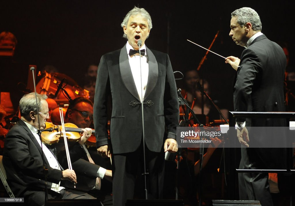 Andrea Bocelli (C) performs in support of his Opera release at HP Pavilion on November 23, 2012 in San Jose, California.