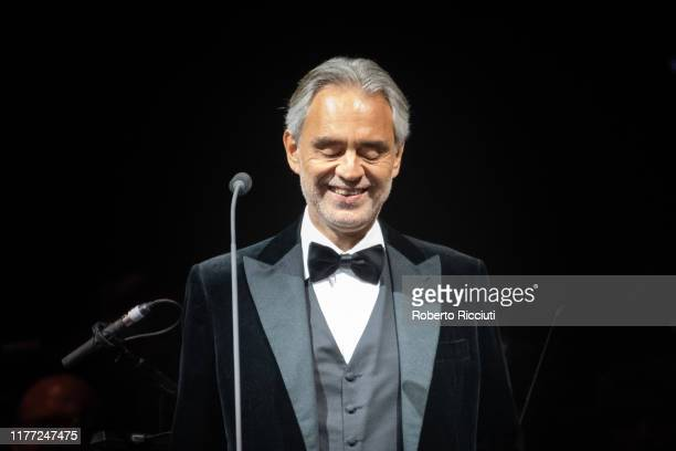 Andrea Bocelli performs on stage at The SSE Hydro on October 20, 2019 in Glasgow, Scotland.
