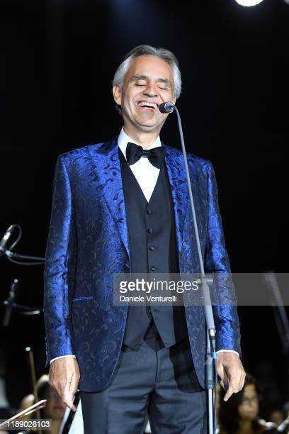 Andrea Bocelli performs on stage during the 60th Birthday Concert of Andrea Griminelli on November 20 2019 in Reggio nell'Emilia Italy