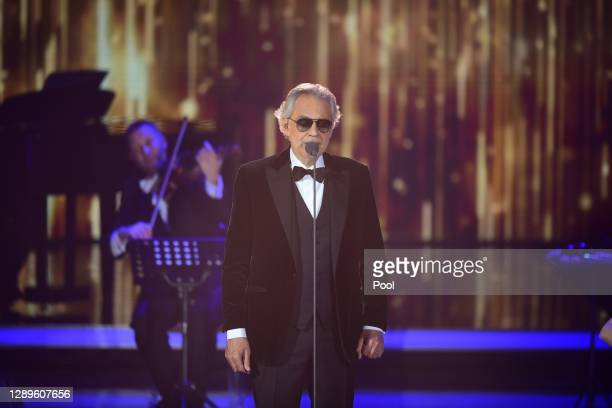 """Andrea Bocelli performs on stage during the """"Ein Herz Fuer Kinder"""" Gala at Studio Berlin Adlershof on December 05, 2020 in Berlin, Germany."""