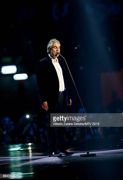 Andrea Bocelli performs on stage during the MTV EMA's 2015 at the Mediolanum Forum on October 25 2015 in Milan Italy