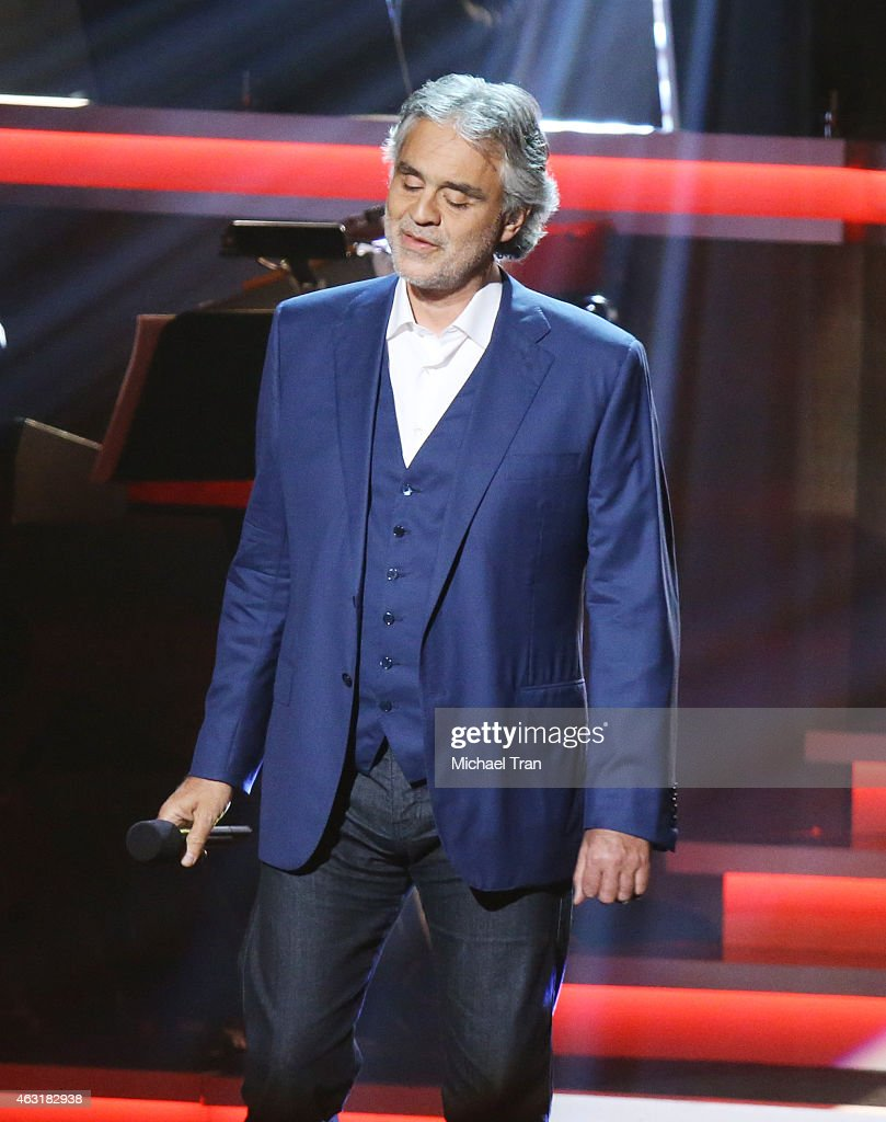 Andrea Bocelli performs onstage during the Stevie Wonder: Songs In The Key Of Life - An All-Star GRAMMY Salute held at Nokia Theatre L.A. Live on February 10, 2015 in Los Angeles, California.