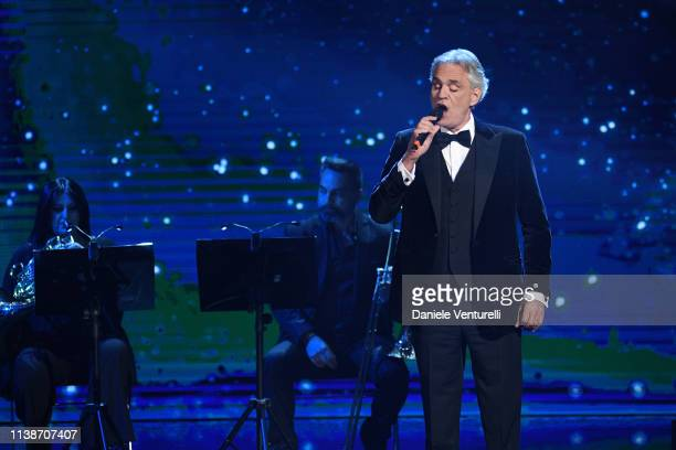 Andrea Bocelli perfroms during the 64. David Di Donatello - Award Ceremony on March 27, 2019 in Rome, Italy.