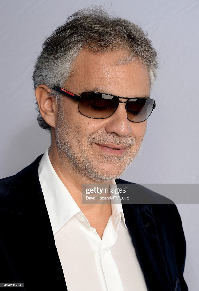 Andrea Bocelli poses for a portrait before the MTV EMA's at the Mediolanum Forum on October 25, 2015 in Milan, Italy.