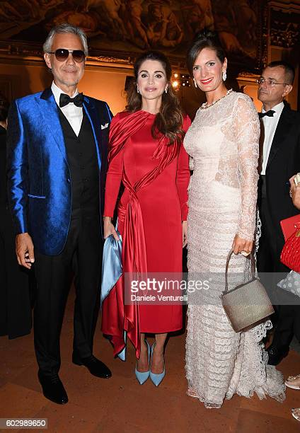 Andrea Bocelli, Queen Rania of Jordan and Veronica Bocelli attend the Celebrity Fight Night gala at Palazzo Vecchio as part of Celebrity Fight Night...