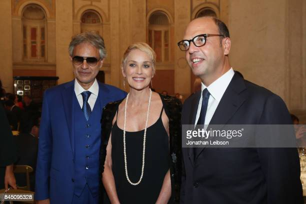Andrea Bocelli Sharon Stone and Italy's Foreign Affairs Minister Angelino Alfano attend the Dinner at Villa Madama as part of the 2017 Celebrity...