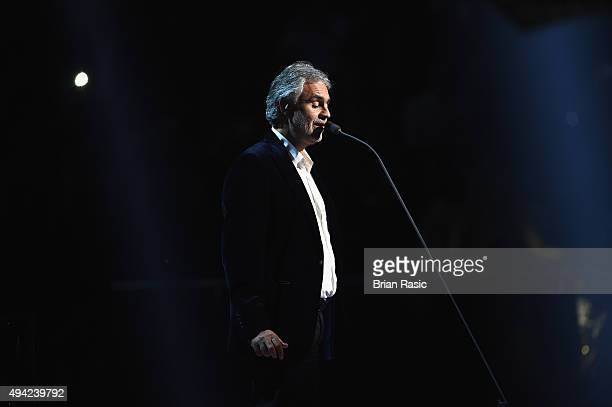 Andrea Bocelli sings on stage during the MTV EMA's 2015 at the Mediolanum Forum on October 25 2015 in Milan Italy