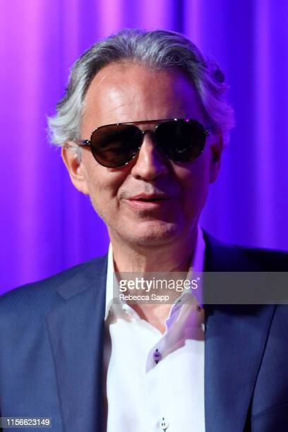 Andrea Bocelli speaks onstage at A Conversation With Andrea Bocelli, Matteo Bocelli, & Bob Ezrin at the GRAMMY Museum on June 17, 2019 in Los...
