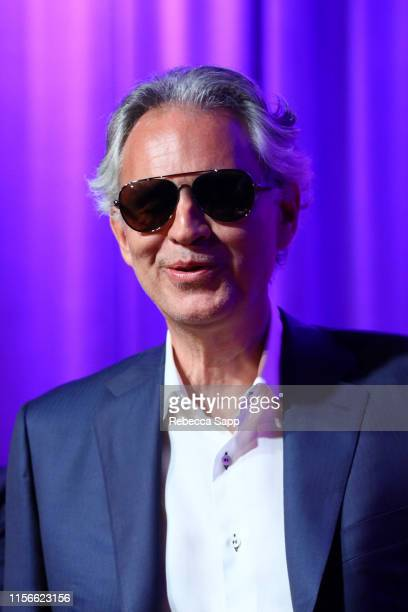 Andrea Bocelli speaks onstage at A Conversation With Andrea Bocelli Matteo Bocelli Bob Ezrin at the GRAMMY Museum on June 17 2019 in Los Angeles...