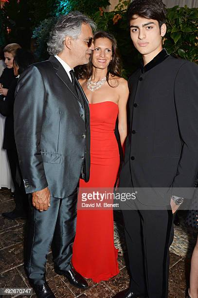 Andrea Bocelli Veronica Berti and Matteo Bocelli attend the welcome party for Puerto Azul Experience Night at Villa St George on May 21 2014 in...