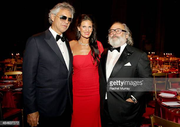 Andrea Bocelli Veronica Berti and Stefano Ricci attend a formal dinner hosted by Stefano Ricci at The Teatro della Pergola during Celebrity Fight...