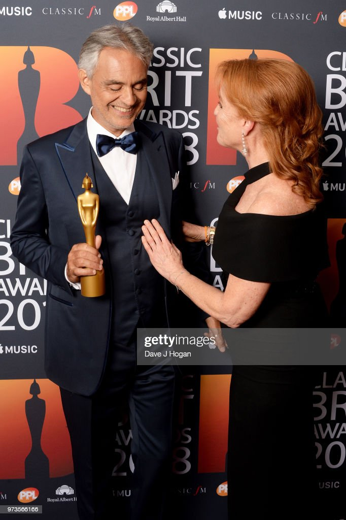 Andrea Bocelli (L), winner of the Classic BRITs Icon award and Sarah, Duchess of York pose in the winners room during the 2018 Classic BRIT Awards held at Royal Albert Hall on June 13, 2018 in London, England.