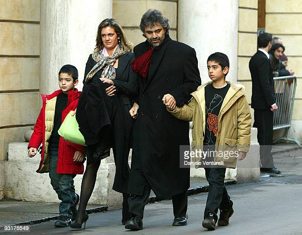 Andrea Bocelli with his partner Veronica and their sons