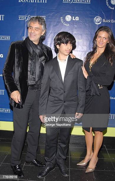 Andrea Bocelli with his son Amos Bocelli and Veronica Berti attend a celebration for Andrea's new CD and PBS special and David Foster's birthday at...