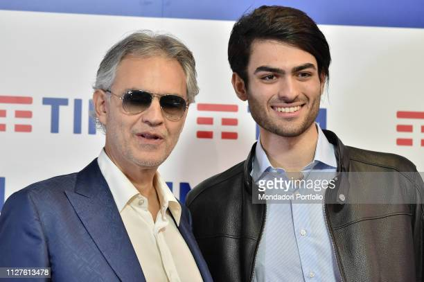 Andrea Bocelli with his song Matteo Bocelli at the Press Conference of the 69th Sanremo Music Festival Sanremo Fabruary 5th 2019