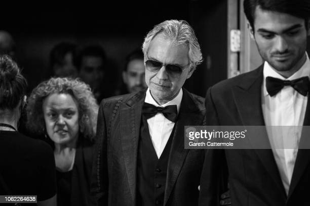 Andrea Bocelli with son Matteo attends the UK Premiere of Disney's 'The Nutcracker And The Four Realms' at Vue Westfield on November 01, 2018 in...
