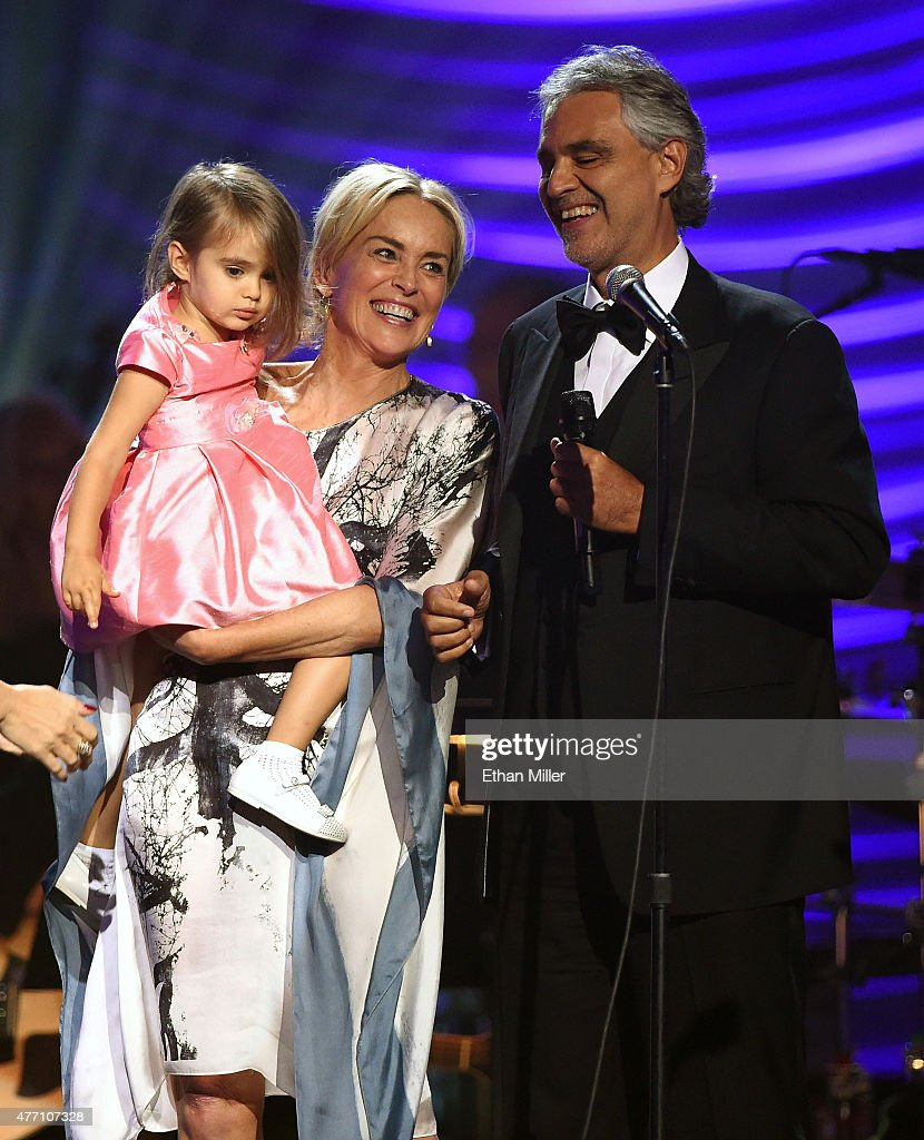 Andrea Bocelli's daughter Virginia Bocelli is held by actress Sharon Stone after honoree Andrea Bocelli performed during the 19th annual Keep Memory Alive 'Power of Love Gala' benefit for the Cleveland Clinic Lou Ruvo Center for Brain Health honoring Andrea Bocelli and Veronica Bocelli at MGM Grand Garden Arena on June 13, 2015 in Las Vegas, Nevada.