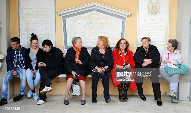 Andrea Bocelli's fans are seen at Sanctuary of Madonna di Montenero before the wedding of Italian singer Andrea Bocelli with Veronica Berti on March...