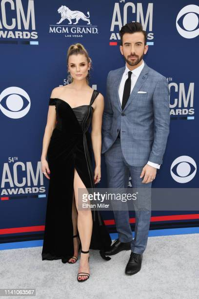 Andrea Boehlke and Jeremy Parsons attend the 54th Academy Of Country Music Awards at MGM Grand Hotel Casino on April 07 2019 in Las Vegas Nevada
