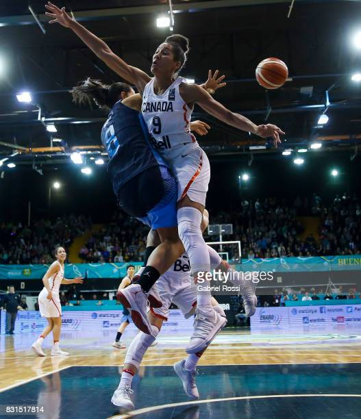 Andrea Boquete of Argentina fights for the ball with Miranda Ayim of Canada during a match between Argentina and Canada as part of the FIBA Women's...