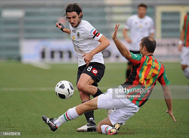 Andrea Bovo of AC Spezia is tackled by Maurizio Lauro of Ternana Calcio during the Serie B match between AC Spezia and Ternana Calcio at Stadio...