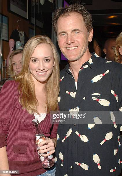 Andrea Bowen and Mark Moses during TMobile Launches The New BlackBerry Pearl with a Night of Bowling for Charity Inside at Lucky Strike Lanes in Los...