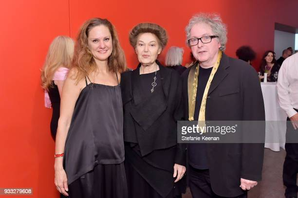 Andrea Bowers Mary Kelly and Ray Barrie attend The CalArts REDCAT Gala Honoring Charles Gaines and Adele Yellin on March 17 2018 in Los Angeles...