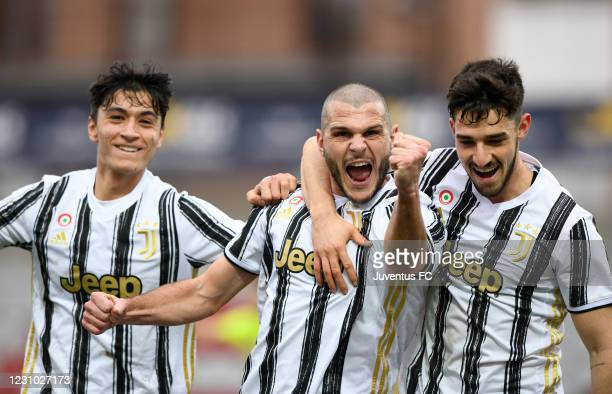Andrea Brighenti of Juventus U23 celebrates his first goal with teammates Giuseppe Leone of Juventus U23 and Alejandro Marques of Juventus U23 during...