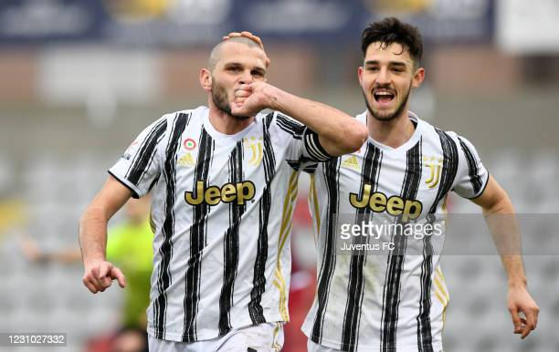 Andrea Brighenti of Juventus U23 celebrates his first goal with teammate Alejandro Marques of Juventus U23 during the Serie C match between Juventus...
