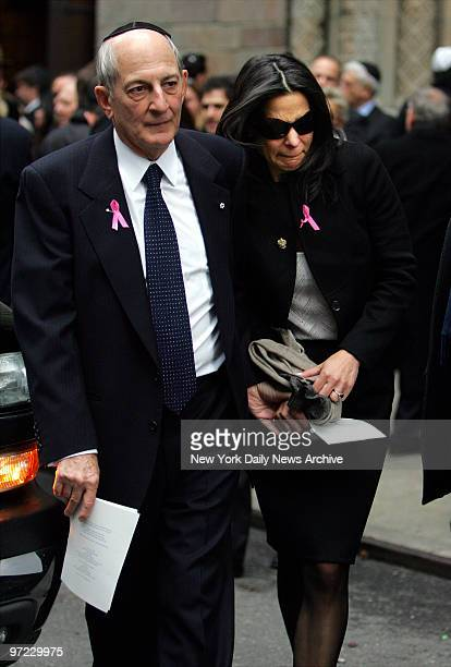 Andrea Bronfman's husband billionaire Seagram's heir Charles Bronfman and daughter Pippa Cohen leave Congregation B'Nai Jeshurun on W 88th St after a...