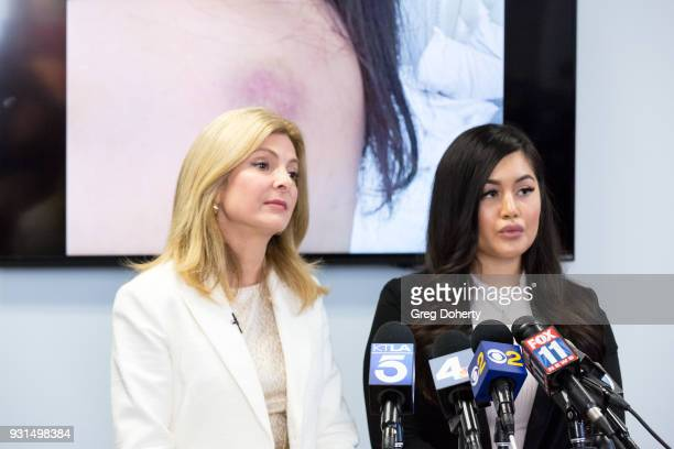 Andrea Buera who is accusing Trey Songz of assaulting her speaks during a press conference with her attorney Lisa Bloom at The Bloom Firm on March 13...