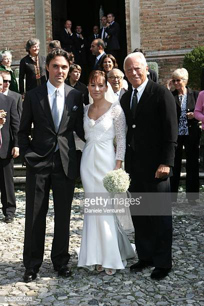 Andrea Camerana Alexia Aquilani and Giorgio Armani