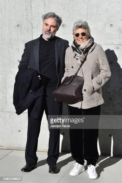 Andrea Camerana and Rosanna Armani arrive at the Emporio Armani show during Milan Menswear Fashion Week Autumn/Winter 2019/20 on January 14 2019 in...