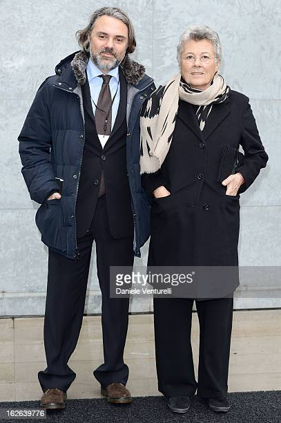 Andrea Camerana and Rosanna Armani attend the Giorgio Armani fashion show during Milan Fashion Week Womenswear Fall/Winter 2013/14 on February 25...