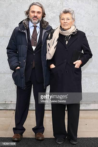 Andrea Camerana and Rosanna Armani attend the Giorgio Armani fashion show as part of Milan Fashion Week Womenswear Fall/Winter 2013/14 on February 25...