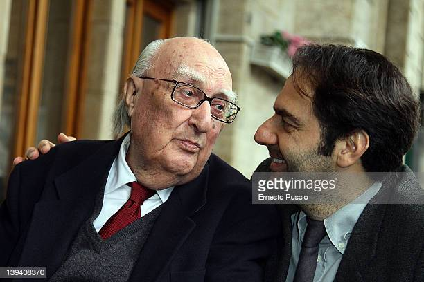 Andrea Camilleri and Neri Marcore attend 'La Scomparsa Di Pato' photocall at Alfredo Restaurant on February 20 2012 in Rome Italy