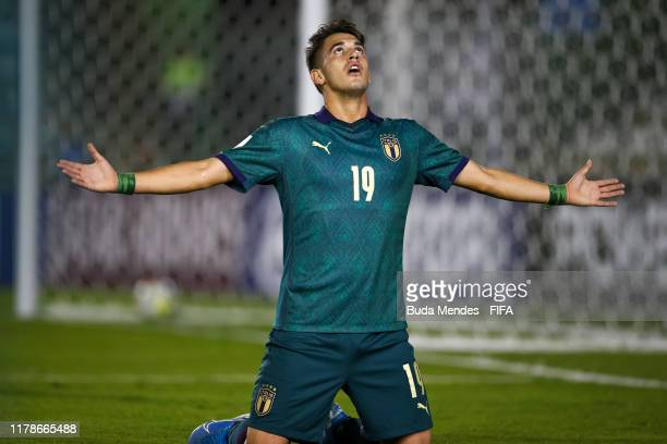 Andrea Capone of Italy celebrates a scored goal during the FIFA U17 Men's World Cup Brazil 2019 group F match between Solomon Islands and Italy at...