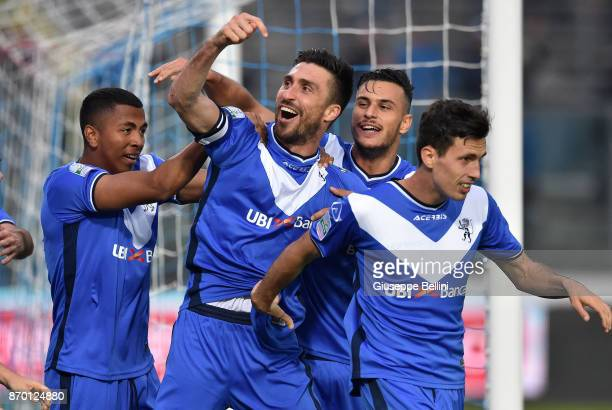 Andrea Caracciolo of Brescia Calcio celebrates after scoring the opening goal during the Serie B match between Brescia Calcio and Venezia FC at...