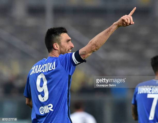 Andrea Caracciolo of Brescia Calcio celebrates after scoring the opening goal during the Serie B match between Brescia Calcio and Venezia FC at...