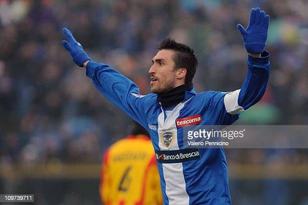 Andrea Caracciolo of Brescia Calcio celebrates the opening goal during the Serie A match between Brescia Calcio and Lecce at Mario Rigamonti Stadium...
