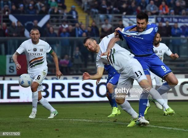 Andrea Caracciolo of Brescia Calcio scores the opening goal during the Serie B match between Brescia Calcio and Venezia FC at Stadio Mario Rigamonti...
