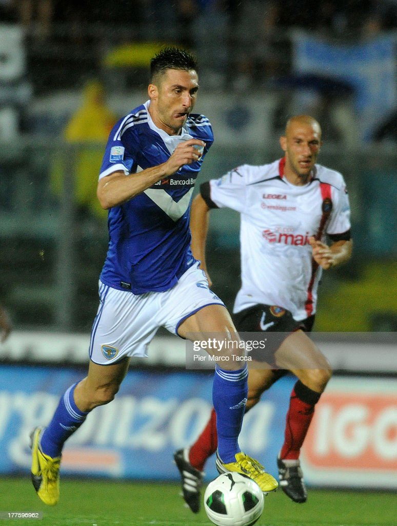Andrea Caracciolo of Brescia in action during the Serie B match between Brescia Calcio and Virtus Lanciano at Mario Rigamonti Stadium on August 24, 2013 in Brescia, Italy.