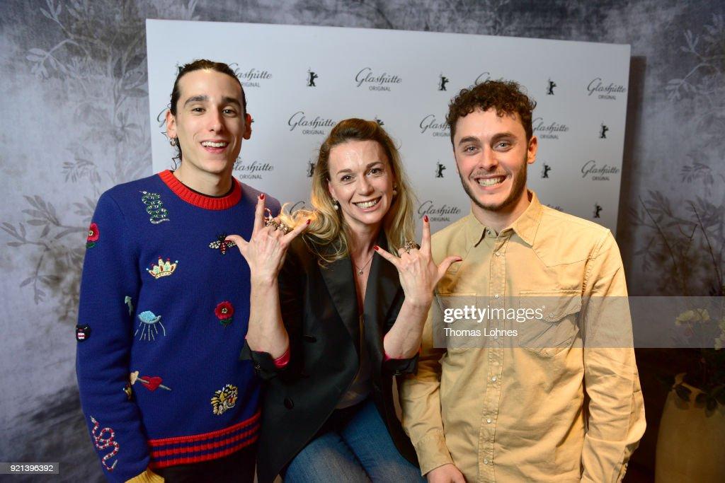 Andrea Carpenzano, Milena Mancini and Matteo Olivetti attend the Glashuette Original Lounge at The 68th Berlinale International Film Festival at Grand Hyatt Hotel on February 20, 2018 in Berlin, Germany.