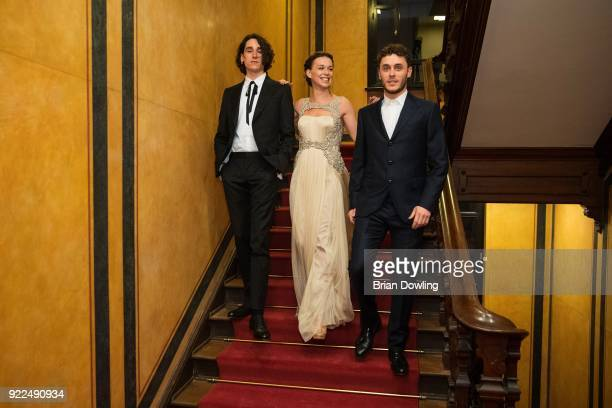 Andrea Carpenzano Milena Mancini wearing a gown by Blumarine and Matteo Olivetti pose during the 'Boys Cry' portrait session during the 68th...