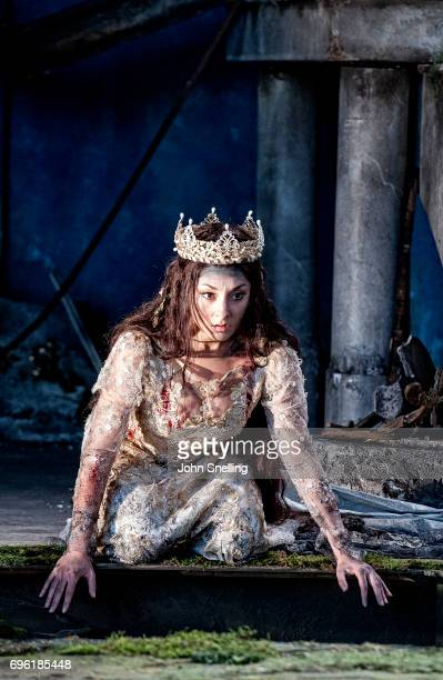 Andrea Carroll as Melisande performs on stage in a new production of Pelleas et Melisande by Debussy at Garsington Opera at Garsington Opera at...